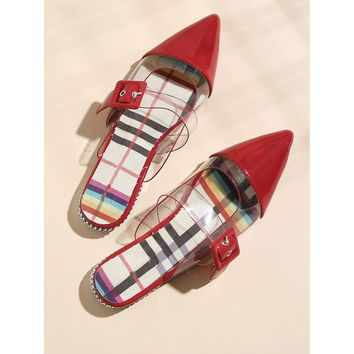 Clear Panel Buckle Strap Flat Mules Red