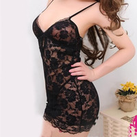 Sexy Babydoll Chemise Mesh Lace Lingerie G-String Thong Women Night Wear Dress