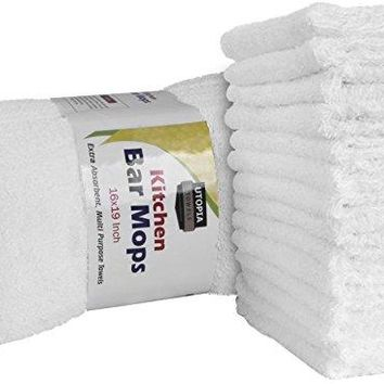 Utopia Towels Kitchen Bar Mop Cleaning Towels (12 Pack, 16 x 19 Inch) - Pure Cotton White