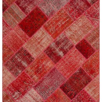 RED OVERDYED PATCHWORK UNIQUE RUG 5'3'' X 7'7'' FT 160 X 230 CM