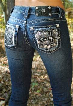 Miss Me Sequin Studded Cross Jeans From Southern Fried Chics