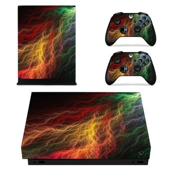 X0223 Game accessories Skin Sticker for Microsoft Xbox One X Console and 2 Controllers skins Stickers for XBOXONE X Enhanced