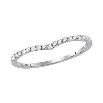 10kt White Gold Womens Round Diamond Slender Chevron Stackable Band Ring 1/3 Cttw