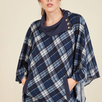 Sweet as Cider Sweater in Blue Plaid | Mod Retro Vintage Vests | ModCloth.com
