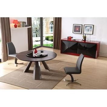 VIG Modrest Barton - Contemporary Round Wenge Dining Table With Glass Lazy Susan