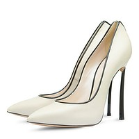 100% Metal Heel 12cm High Heel Pointed Toe Stilettos Pumps