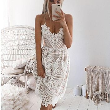 f1dac465c4 2019 New Beach Long Cover Up White Lace Swimsuit cover up Summer