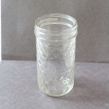 TALL Cut Glass JELLY JAR, Collectible Glass Jar, narrow tall jar, jar with diamond pattern, thin glass jar, clear glass jar, canning jar