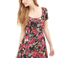 FOREVER 21 Woven Floral Skater Dress Black/Burgundy