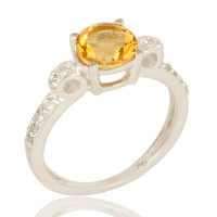 Natural Citrine And White Topaz 925 Sterling Silver Halo Inspired Solitaire Ring