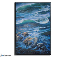 Original Landscape Oil Paintings, Landscape Art, Seascape Painting, Seascape Art, Canvas Art, Ocean Wave Painting,