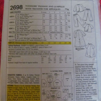 Mostly Uncut 1970's McCall's Sewing Pattern, 2698! Size 2 Toddlers, Boys, Kids, Children, Pajamas, One-sy, Jumpers, Rompers, Shirt & Pants