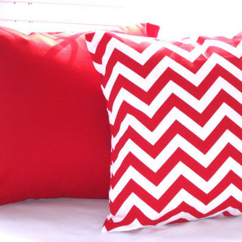 "Red Pillow Cover Home Decor Housewares Decorative Pillows Red Chevron Zig Zag Solid Red 16"" x 16"" Pillow Covers Set of 2"