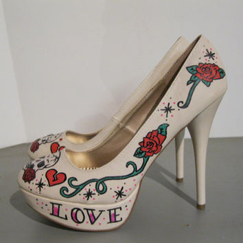LOVE KILLS ..SWAROVSKI Crystal Hand Painted Heels ..Sizes 6-11