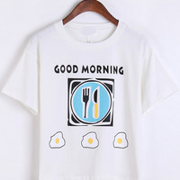 BREAKFAST Graphic Print White Short Sleeve Shirt