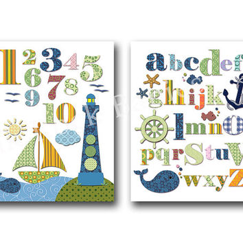 Nautical nursery wall art ocean nursery wall decor alphabet poster abc print baby boy room art children room artwork navy blue green numbers