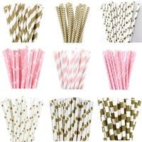 25pcs Metallic Gold Light Pink Paper Straws for birthday wedding decorative party event Drinking Straws supplies