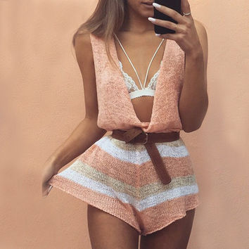 Women Casual Deep V-Neck Multicolor Vest Loose Romper Jumpsuit
