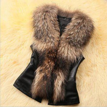 2016 Winter Faux Fur Vest Jacket With Bow On the Back Sleeveless Winter Body Warm Coat parka women jackets   S-3XL