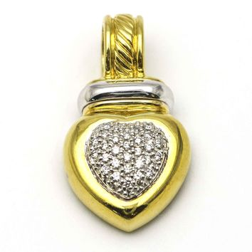 David Yurman Cable Classics Heart Enhancer Pendant in 18k Gold with Diamonds