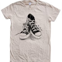 Womens Sneakers Tshirt Custom Hand Screen Print American Apparel Crew Neck Available: S, M, L, XL 12 Color Options