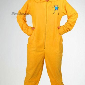 Licensed cool NEW Adventure Time JAKE Adult Costume PJS Pajamas Hood Mask Hat Removable Feet
