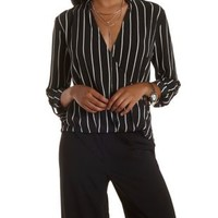 Black Textured Striped Surplice Neck Top by Charlotte Russe