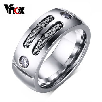 Vnox Men's Ring Stainless Steel Punk Rock Ring With Wire Cubic Zirconia Party Jewelry USA Size