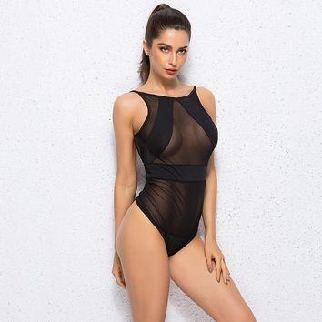 2017 Summer Sexy Swimwear Women Black Mesh Sheer Monokini One Piece Transparent Bodysuit Beachwear Swimsuit CU862537