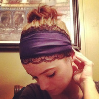 Navy and black lace wide stretch headband
