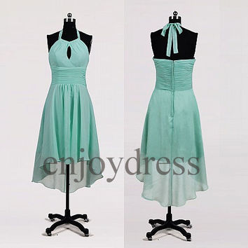 Custom Mint Halter Hi Low Bridesmaid Dresses 2014 Prom Dresses Cheap Prom Dresess Wedding Party Dresses Party Dress Evening Gowns