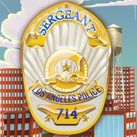 LOS ANGELES SERGEANT POLICE BADGE POSTER Art Print by Nick Greenaway