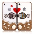 Lovers Kissing Fishes Rhinestone Case For iPhone 4/4S