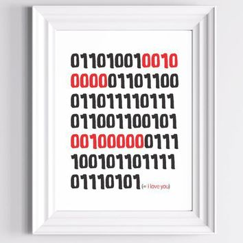 Binary I Love You Red and Black 8 X 10 Geek by TheWallaroo on Etsy