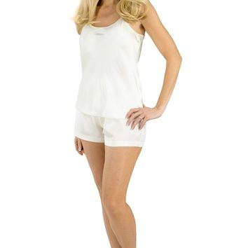 Women's 100% Mulberry Silk Cami and Boxer Pajama Set with Gift Box