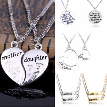 Family Gifts Love Heart Pendants Chain Necklace Mother Daughter Necklaces Mom Mommy Women Girls Jewelry Mothers Day Presents New