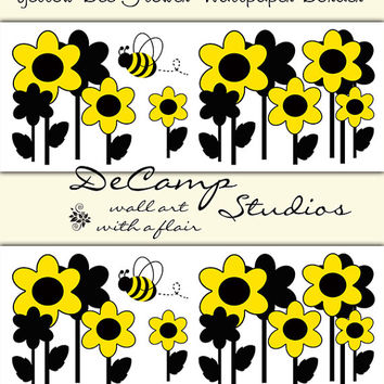 BUMBLE BEE YELLOW Floral Wallpaper Border Wall Decals Baby Girl Nursery Kids Room Childrens Bedroom Home Decor Ideas Flower Art Stickers