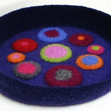 Mod Modern Cat or Small Dog Pet Bed Hand Crocheted Felted Pet Bed in Funky Multi Color Circle