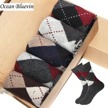 Rabbit Wool Quality knitted Men Socks Autumn Winter Warm Thick Style Business Casual Dotted Line Rhombus Pattern Soft Sock Meias