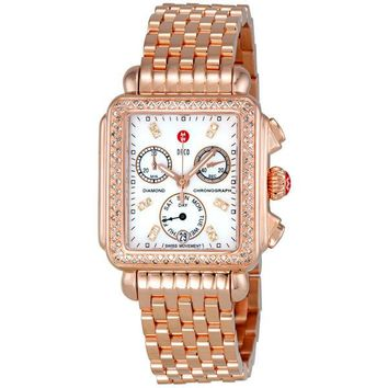 Michele Deco Day White Dial Diamond Bezel Rose-Gold Ladies Watch MWW06P000109