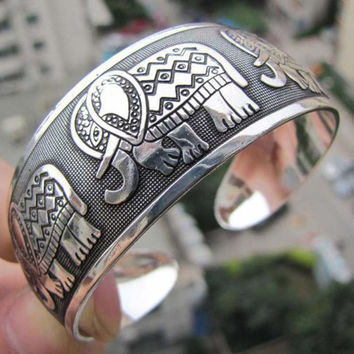 Elephant Tibetan Tibet Totem Bangle Jewelry Retro Cuff Wide Bracelet Bangle