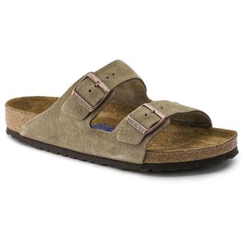 Arizona Sandal in Taupe Suede Leather with Soft Footbed by Birkenstock