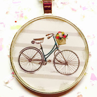 Bicycle Necklace, Bike Jewelry, Retro Bicycle, Vintage Bike Image, Feminine Pendant, Resin Bezel Necklace, Silver Tone Jewelry, Small Gift