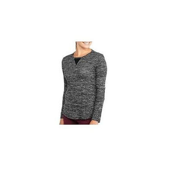 Tru Self Women's Long Sleeve Fashion Sweater W/Elbow Patch, Black/Grey, Small