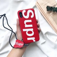 Hot fashion red supr Matte Soft silicon cover case for iphone 6 6Plus S 7 7 plus 8 8Plus X 10 popular sup Lanyard phone cases