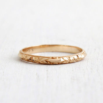 Antique 14k Yellow Gold Wedding Band Ring - Art Deco 1930s Wedding Engagement Stacking Orange Blossom Fine Jewelry / Eternity Flowers