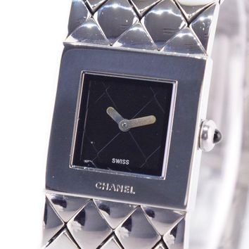 AUTHENTIC CHANEL Matrasse Watches Silver Stainless Steel Women blackDial