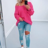 The Kelsey Sweater: Bubblegum Pink