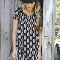 Saratoga Springs Black & Taupe Short Sleeve Leaf Print Dress