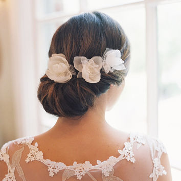 Bridal accessory bridal hair flowers silk by EricaElizabethDesign